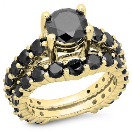 5.25 Carat (ctw) 10K Yellow Gold Round Cut Black Diamond Ladies Bridal Engagement Ring With Matching Band Set