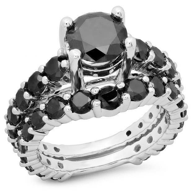 5.25 Carat (ctw) 18K White Gold Round Cut Black Diamond Ladies Bridal Engagement Ring With Matching Band Set