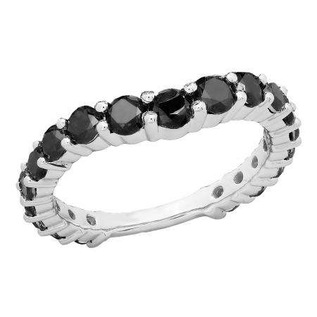 1.25 Carat (ctw) 10K White Gold Round Black Diamond Ladies Anniversary Stackable Wedding Band 1 1/4 CT