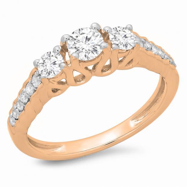 0.75 Carat (ctw) 10K Rose Gold Round Cut Diamond Ladies Bridal 3 Stone Engagement Ring 3/4 CT