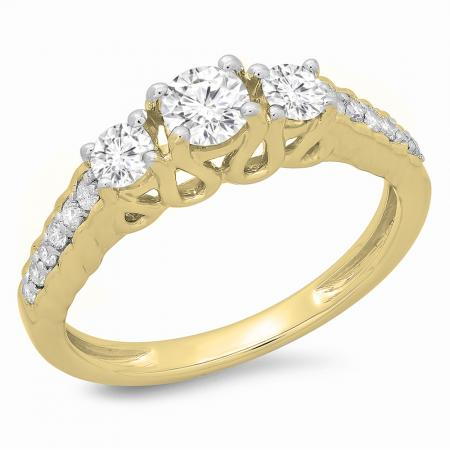 0.75 Carat (ctw) 10K Yellow Gold Round Cut Diamond Ladies Bridal 3 Stone Engagement Ring 3/4 CT
