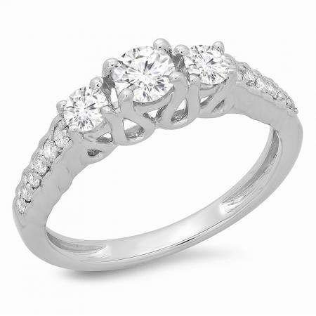0.75 Carat (ctw) 14K White Gold Round Cut Diamond Ladies Bridal 3 Stone Engagement Ring 3/4 CT