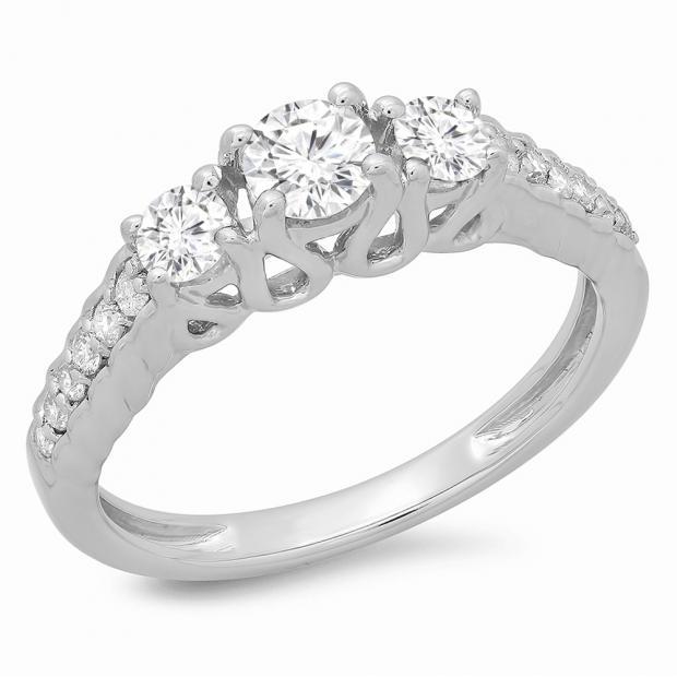 0.75 Carat (ctw) 18K White Gold Round Cut Diamond Ladies Bridal 3 Stone Engagement Ring 3/4 CT