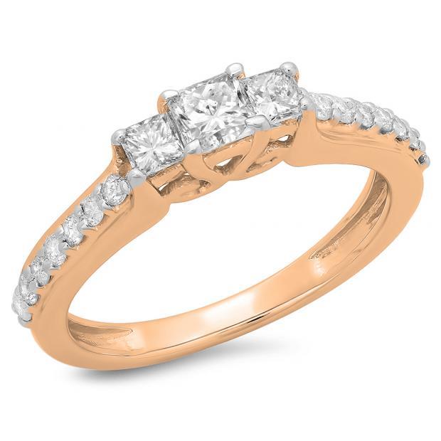 0.85 Carat (ctw) 10K Rose Gold Princess & Round Cut Diamond Ladies Bridal 3 Stone Engagement Ring