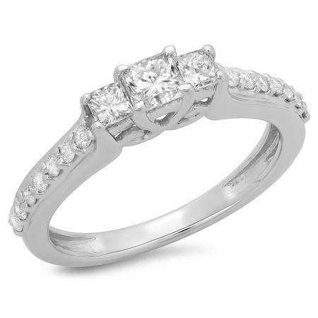 0.85 Carat (ctw) 14K White Gold Princess & Round Cut Diamond Ladies Bridal 3 Stone Engagement Ring