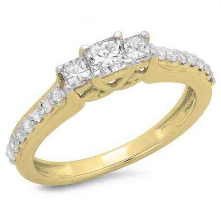 0.85 Carat (ctw) 18K Yellow Gold Princess & Round Cut Diamond Ladies Bridal 3 Stone Engagement Ring