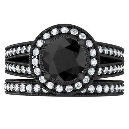2.25 Carat (ctw) Black Rhodium Plated 18K White Gold Round White & Black Diamond Ladies Split Shank Halo Style Bridal Engagement Ring Set With Matching Band