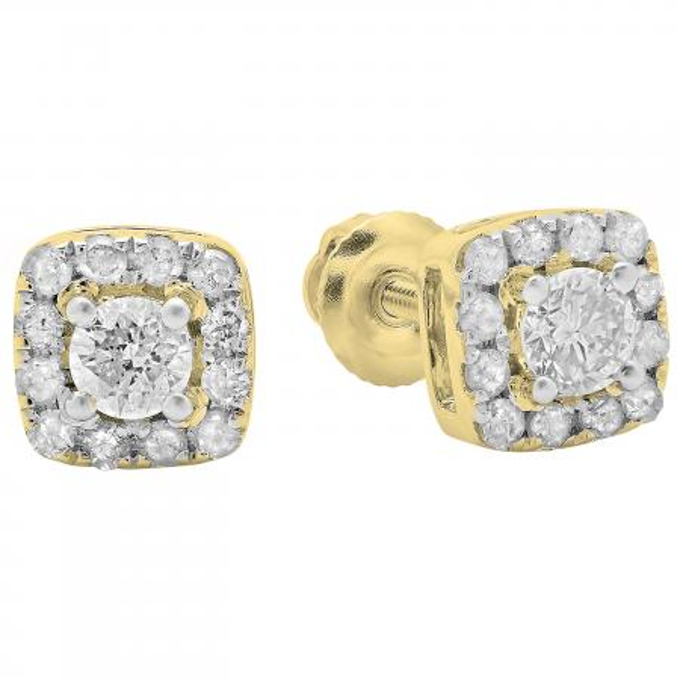 0.50 Carat (ctw) 10K Yellow Gold Round Cut Diamond Ladies Square Frame Halo Stud Earrings 1/2 CT