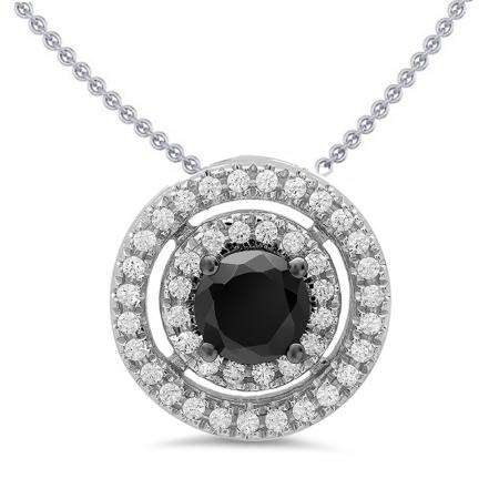 1.20 Carat (ctw) 14K White Gold Round Cut White & Black Cubic Zirconia Ladies Halo Pendant