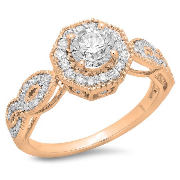 1.15 Carat (ctw) 18K Rose Gold Round Cut Diamond Ladies Bridal Vintage Style Halo Engagement Ring