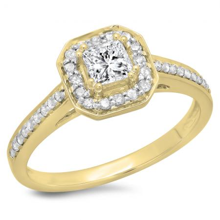 0.80 Carat (ctw) 10K Yellow Gold Princess & Round Cut Diamond Ladies Bridal Halo Engagement Ring