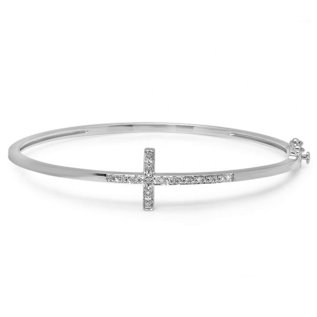 0.10 Carat (ctw) Sterling Silver Round Cut White Diamond Ladies Sideways Cross Bangle Bracelet 1/10 CT