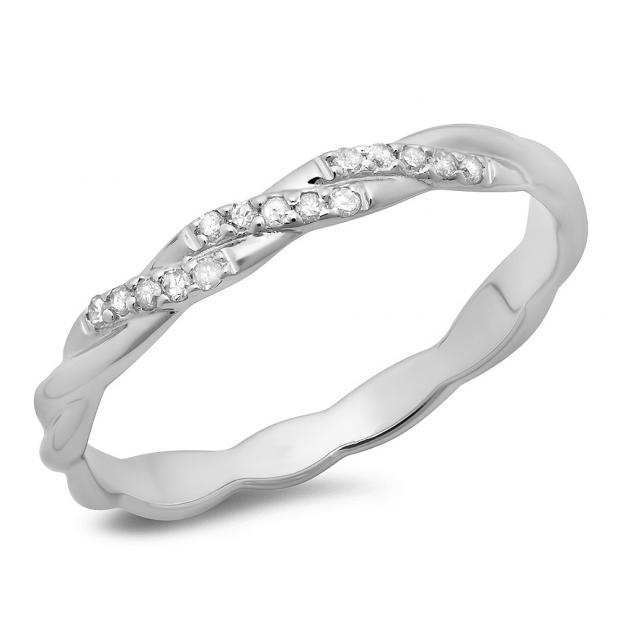 0.10 Carat (ctw) 10K White Gold Round Cut Diamond Ladies Swirl Anniversary Wedding Band Stackable Ring 1/10 CT