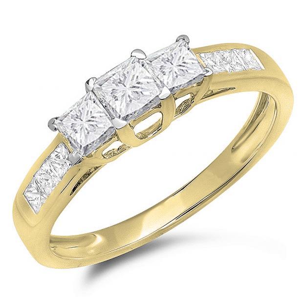 1.00 Carat (ctw) 10K Yellow Gold Princess Cut Diamond Ladies 3 Stone Bridal Engagement Ring 1 CT