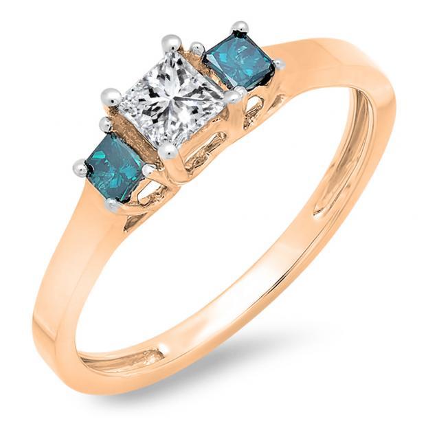 0.45 Carat (ctw) 14K Rose Gold Princess Cut Blue & White Diamond Ladies Bridal 3 Stone Engagement Ring 1/2 CT