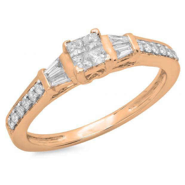 0.50 Carat (ctw) 10K Rose Gold Princess Baguette & Round Cut Diamond Ladies Bridal Engagement Ring 1/2 CT