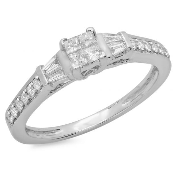 0.50 Carat (ctw) 14K White Gold Princess Baguette & Round Cut Diamond Ladies Bridal Engagement Ring 1/2 CT