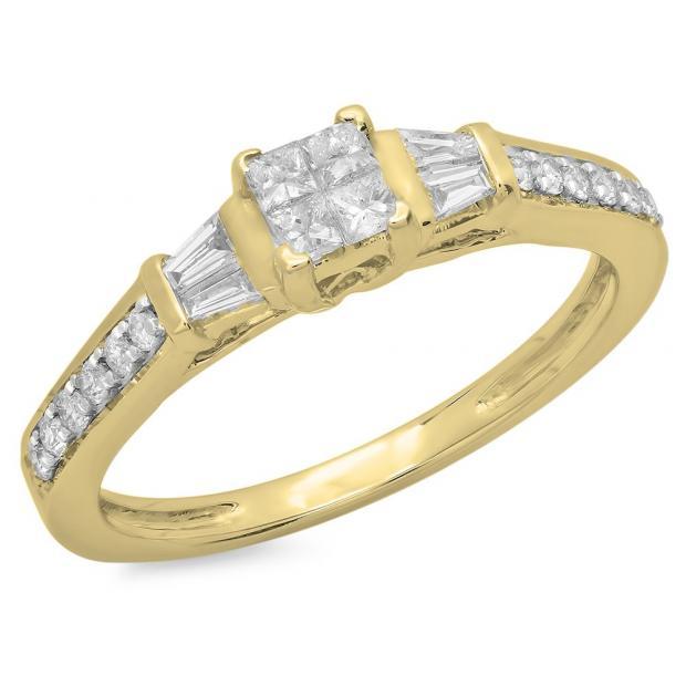 0.50 Carat (ctw) 14K Yellow Gold Princess Baguette & Round Cut Diamond Ladies Bridal Engagement Ring 1/2 CT
