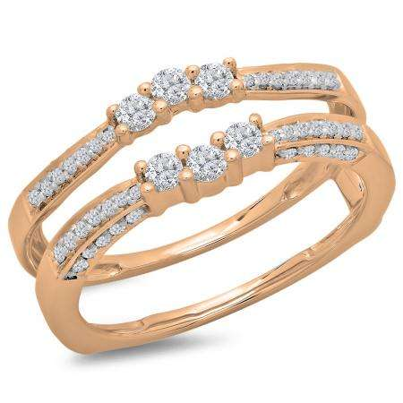 0.50 Carat (ctw) 18K Rose Gold Round Cut Diamond Ladies Anniversary Wedding Band Enhancer Guard Double Ring 1/2 CT