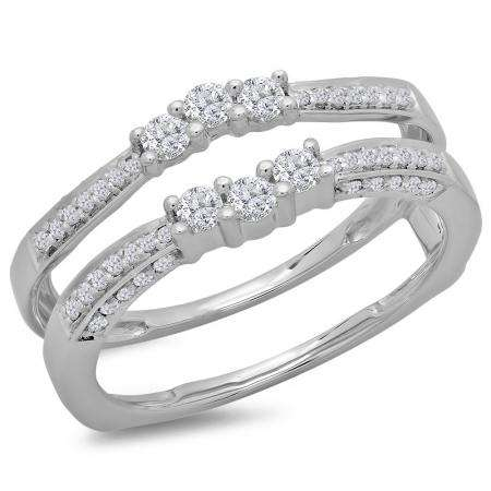 0.50 Carat (ctw) 18K White Gold Round Cut Diamond Ladies Anniversary Wedding Band Enhancer Guard Double Ring 1/2 CT