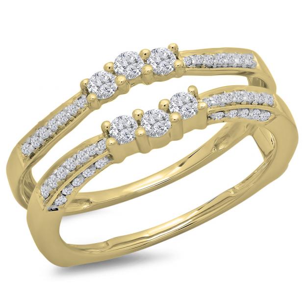 0.50 Carat (ctw) 18K Yellow Gold Round Cut Diamond Ladies Anniversary Wedding Band Enhancer Guard Double Ring 1/2 CT