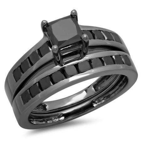 2.35 Carat (ctw) Black Rhodium Plated Sterling Silver Princess Cut Black Diamond Ladies Bridal Engagement Ring With Matching Band Set