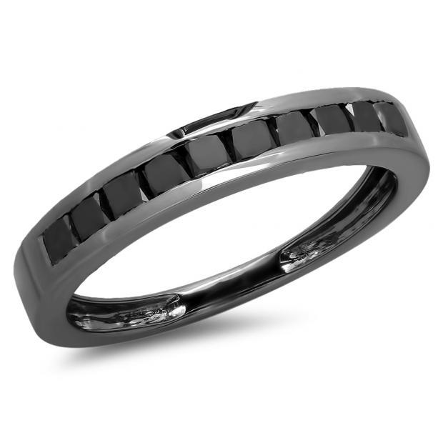 0.90 Carat (ctw) Black Rhodium Plated Sterling Silver Princess Cut Black Diamond Ladies Bridal Anniversary Wedding Band Ring