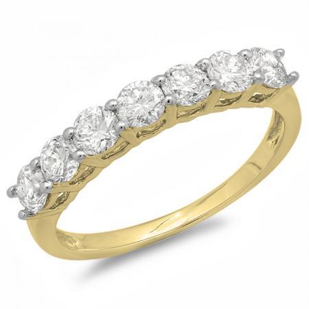 0.90 Carat (ctw) 10K Yellow Gold Round White Diamond Ladies 7 Stone Bridal Wedding Band Anniversary Ring