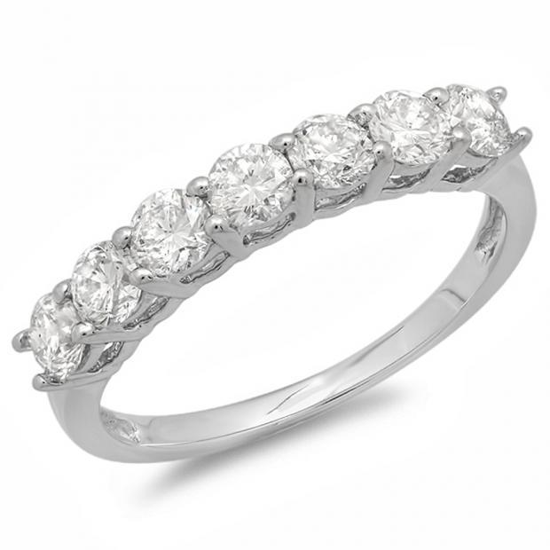 0.90 Carat (ctw) 14K White Gold Round White Diamond Ladies 7 Stone Bridal Wedding Band Anniversary Ring