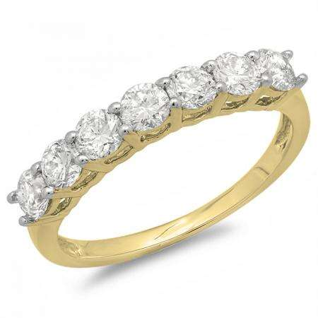 0.90 Carat (ctw) 14K Yellow Gold Round White Diamond Ladies 7 Stone Bridal Wedding Band Anniversary Ring
