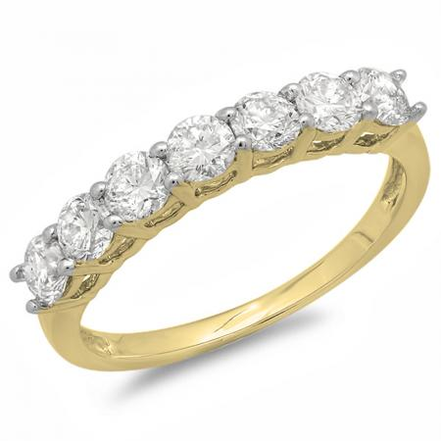 0.90 Carat (ctw) 14K Yellow Gold Round White Diamond Ladies 7 Stone Bridal Wedding Band Anniversary Ring