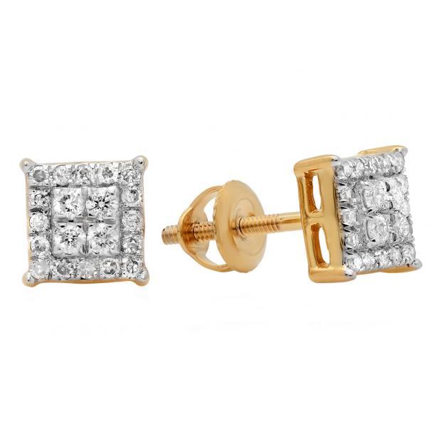 0.30 Carat (ctw) 14K Yellow Gold Round White Diamond Ladies Square Shape Stud Earrings 1/3 CT
