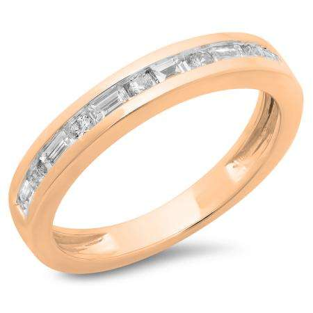 0.55 Carat (ctw) 10K Rose Gold Alternating Round & Baguette Cut Diamond Ladies Channel Set Anniversary Wedding Band Stackable Ring 1/2 CT