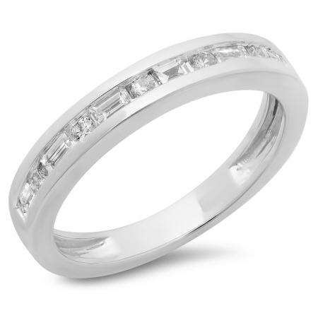 0.55 Carat (ctw) 10K White Gold Alternating Round & Baguette Cut Diamond Ladies Channel Set Anniversary Wedding Band Stackable Ring 1/2 CT