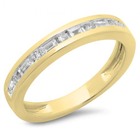 0.55 Carat (ctw) 10K Yellow Gold Alternating Round & Baguette Cut Diamond Ladies Channel Set Anniversary Wedding Band Stackable Ring 1/2 CT