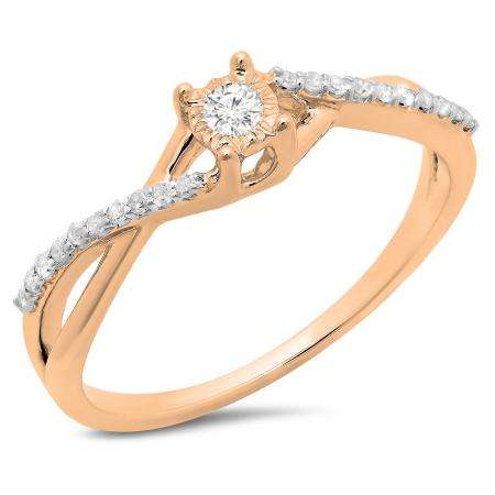 0.20 Carat (ctw) 18K Rose Gold Round White Diamond Ladies Swirl Split Shank Promise Engagement Ring 1/5 CT