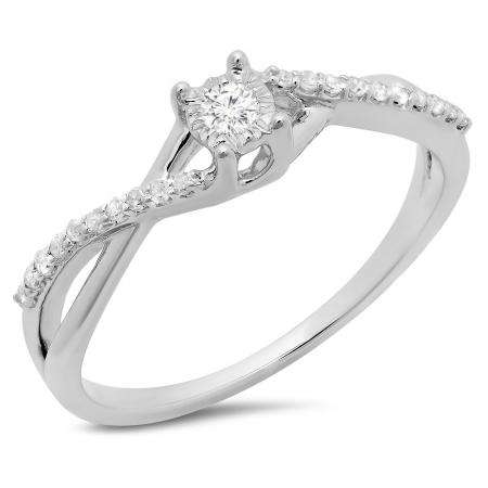 0.20 Carat (ctw) 18K White Gold Round White Diamond Ladies Swirl Split Shank Promise Engagement Ring 1/5 CT