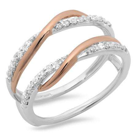 0.25 Carat (ctw) 18K Two Tone Gold Round Cut Diamond Ladies Bridal Anniversary Wedding Band Enhancer Swirl Double Guard Ring 1/4 CT