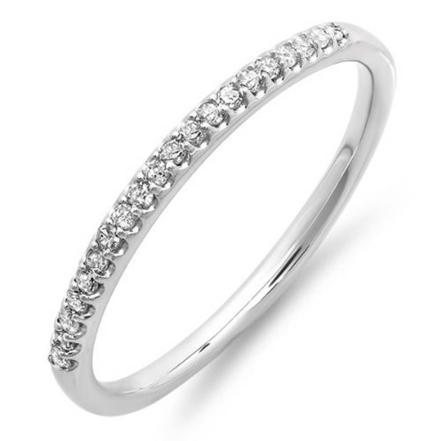 0.15 Carat (ctw) 14K White Gold Round Cut Diamond Ladies Dainty Anniversary Wedding Stackable Band