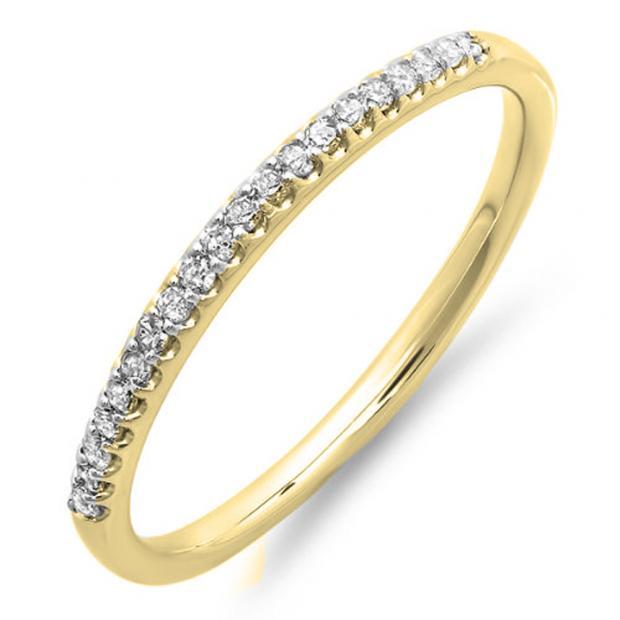 0.15 Carat (ctw) 18K Yellow Gold Round Cut Diamond Ladies Dainty Anniversary Wedding Stackable Band