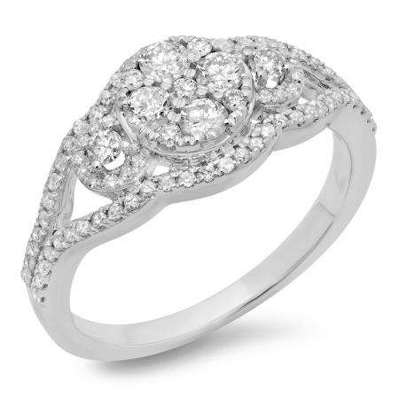 0.80 Carat (ctw) 14K White Gold Round Cut Diamond Ladies Bridal Split Shank Cluster Engagement Ring 3/4 CT