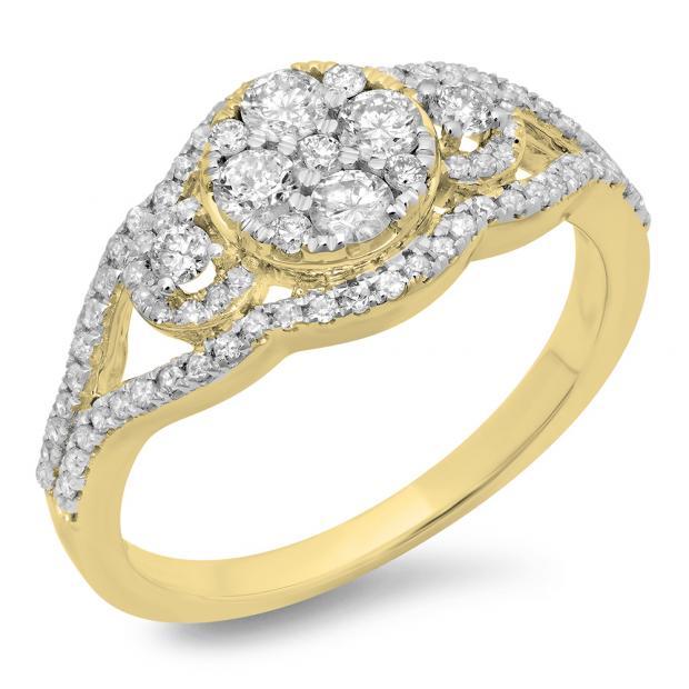 0.80 Carat (ctw) 18K Yellow Gold Round Cut Diamond Ladies Bridal Split Shank Cluster Engagement Ring 3/4 CT