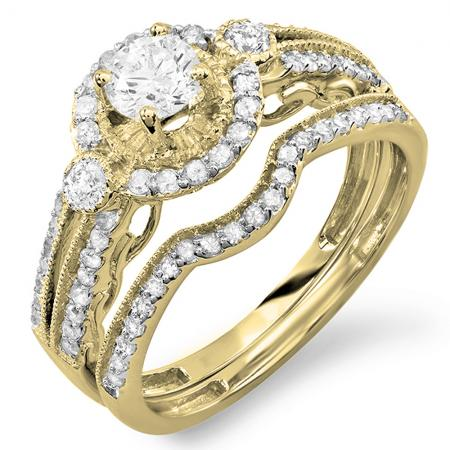 0.98 Carat (ctw) 14K Yellow Gold Round Cut White Diamond Ladies Bridal Halo Engagement Ring Set With Matching Band 0.40 CT Center Included 1 CT