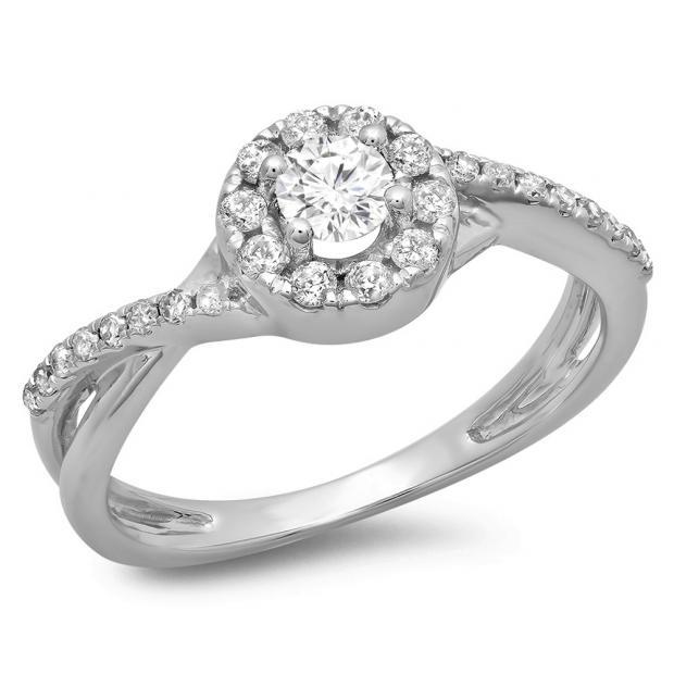 0.50 Carat (ctw) 14K White Gold Round Cut Diamond Ladies Swirl Split Shank Bridal Halo Engagement Ring 1/2 CT