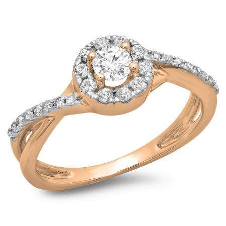 0.50 Carat (ctw) 18K Rose Gold Round Cut Diamond Ladies Swirl Split Shank Bridal Halo Engagement Ring 1/2 CT