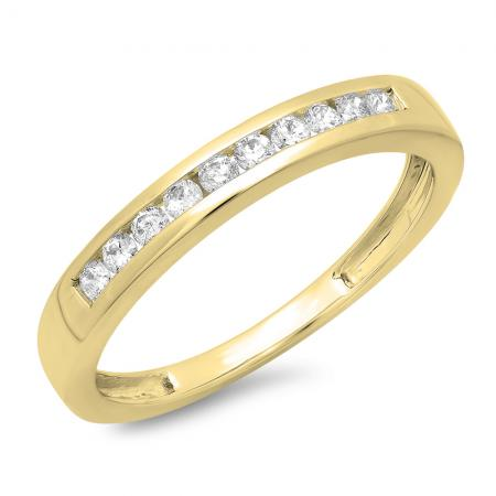 0.25 Carat (ctw) 10K Yellow Gold Round Cut Diamond Ladies Stackable Anniversary Wedding Band 1/4 CT
