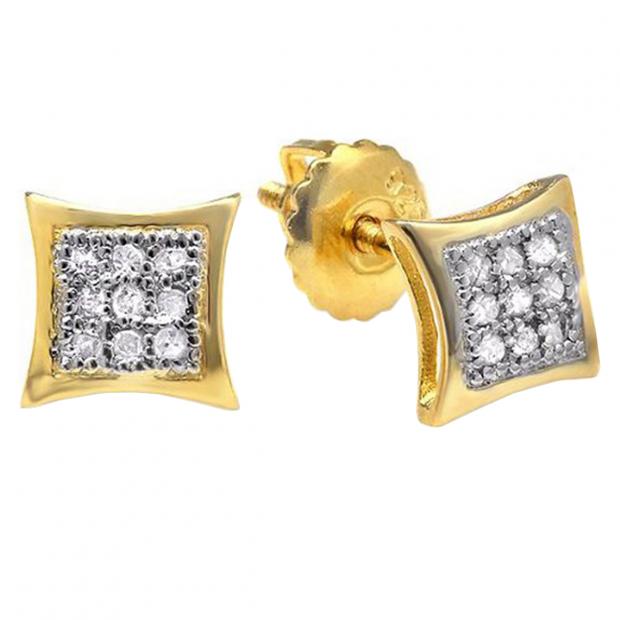75fe02d6b 0.08 Carat (ctw) 18K Yellow Gold Plated Sterling Silver Round Cut Diamond  Mens Hip Hop Kite Shape Stud Earrings