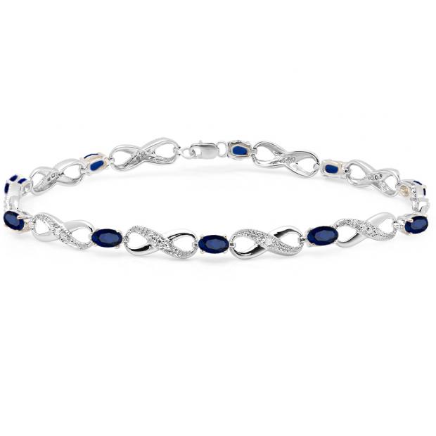 2.27 Carat (ctw) Sterling Silver Real Oval Cut Blue Sapphire & Round Cut White Diamond Ladies Infinity Link Tennis Bracelet