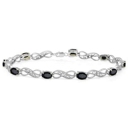 4.11 Carat (ctw) Sterling Silver Real Oval Cut Black Sapphire & Round Cut White Diamond Ladies Infinity Link Tennis Bracelet