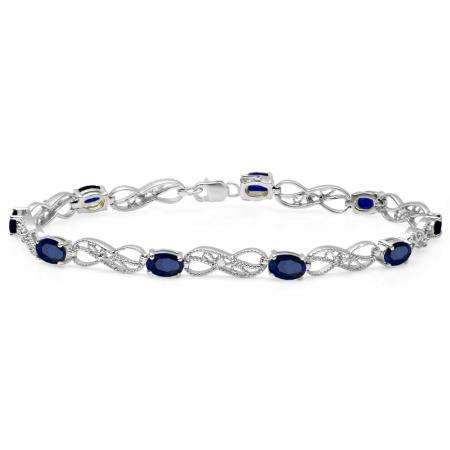 4.11 Carat (ctw) Sterling Silver Real Oval Cut Blue Sapphire & Round Cut White Diamond Ladies Infinity Link Tennis Bracelet